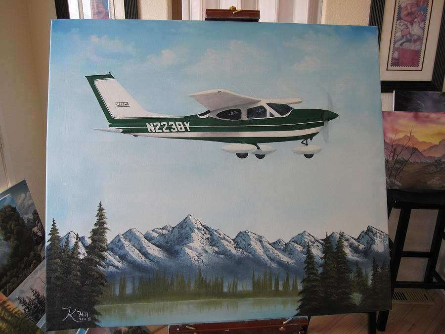 Cessna Over Lake Painting