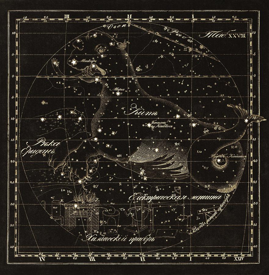 Cetus Photograph - Cetus Constellations, 1829 by Science Photo Library