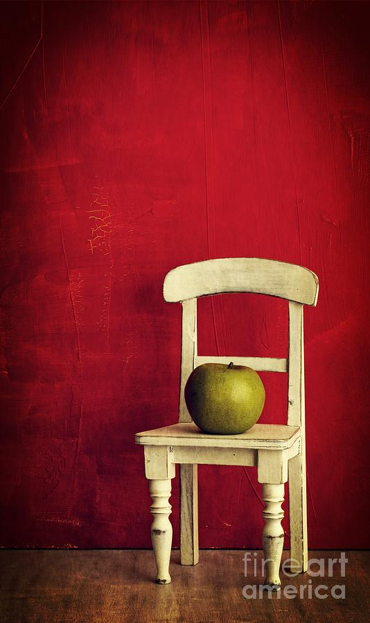Chair Apple Red Still Life Photograph  - Chair Apple Red Still Life Fine Art Print