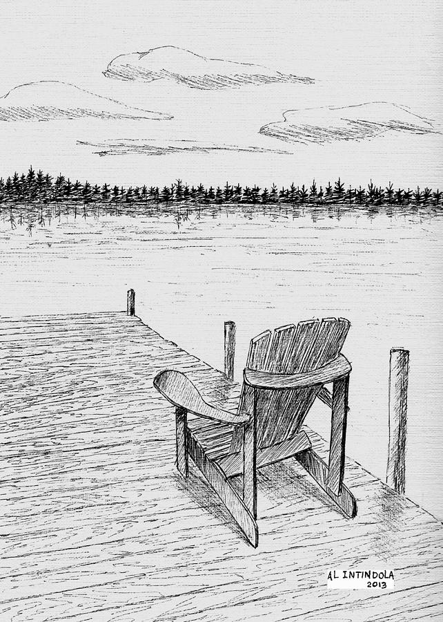 Chair On The Dock Drawing