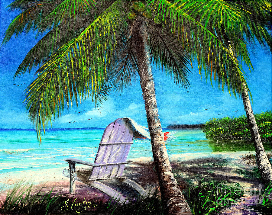 Beach scene with palm tree and chairsindigobloomdesigns for Painting palm trees