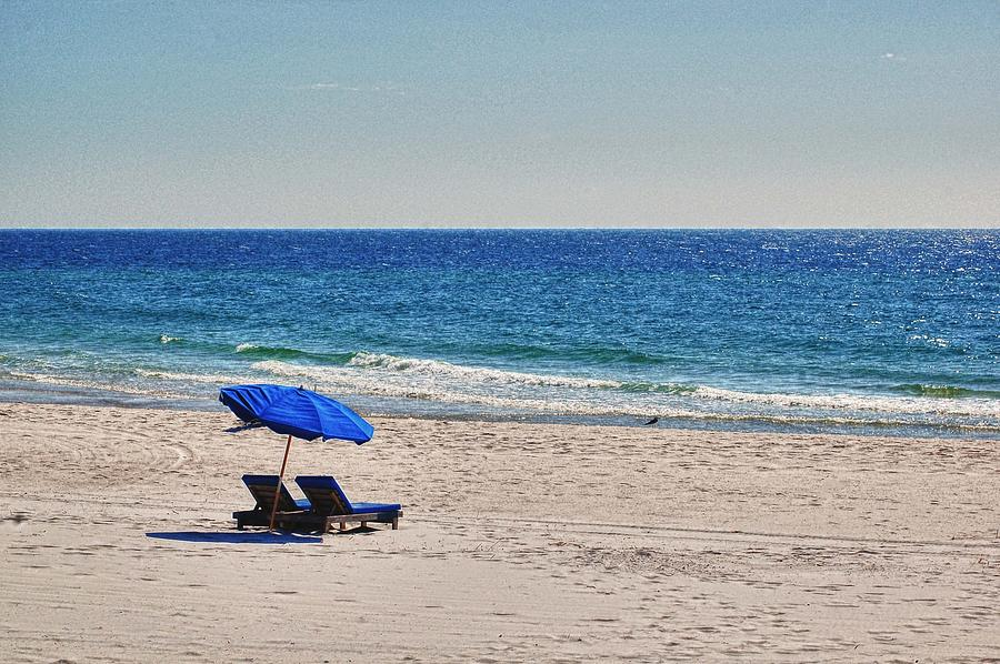 Chairs On The Beach With Umbrella Digital Art