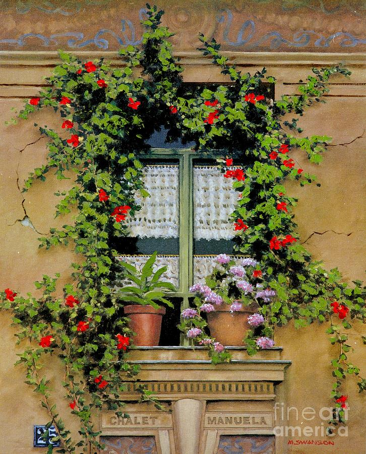 French Window Painting - Chalet Manuela by Michael Swanson