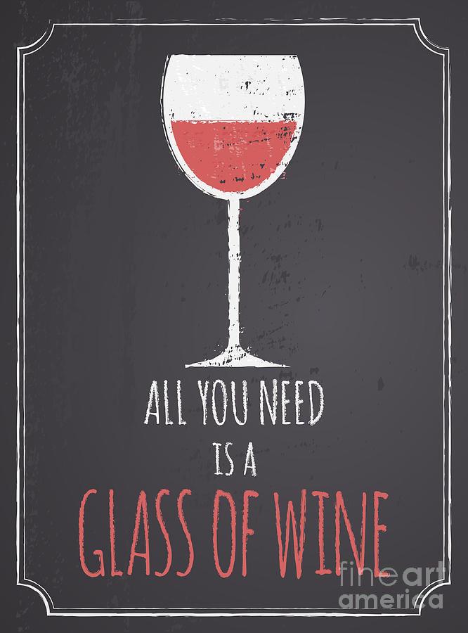 Chalkboard red wine design drawing by iveta angelova for Wine chalkboard art