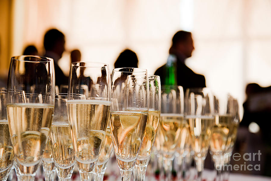 Champagne Glasses At The Party Photograph