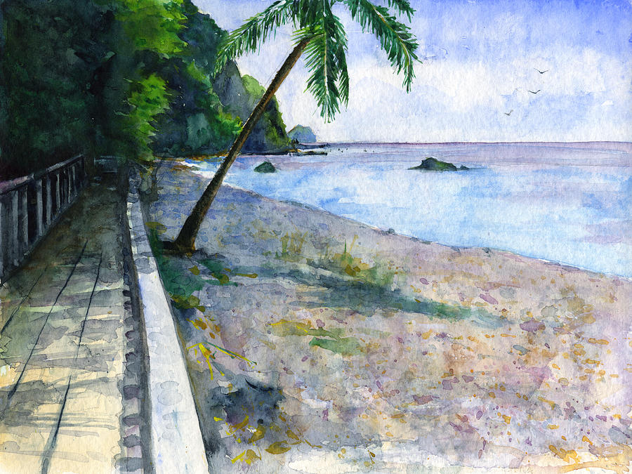 Champagne Snorkel Dominica Painting