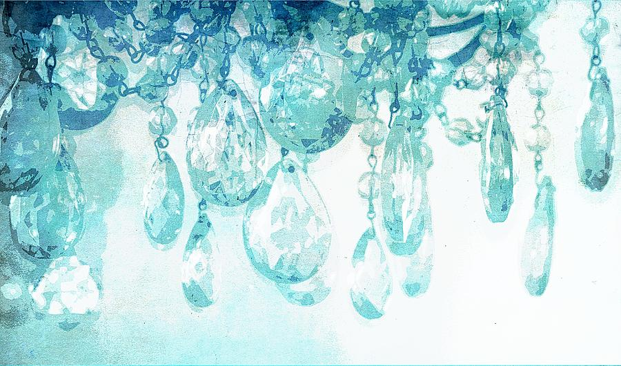 Chandelier Crystals In Aqua Photograph