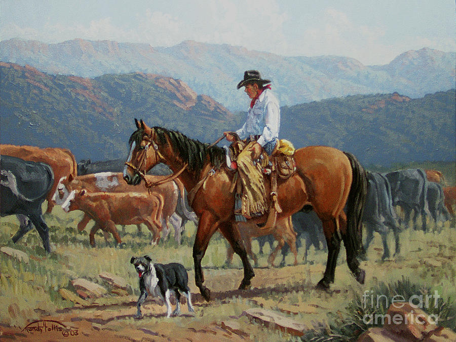 Cowboy Painting - Changing Range by Randy Follis