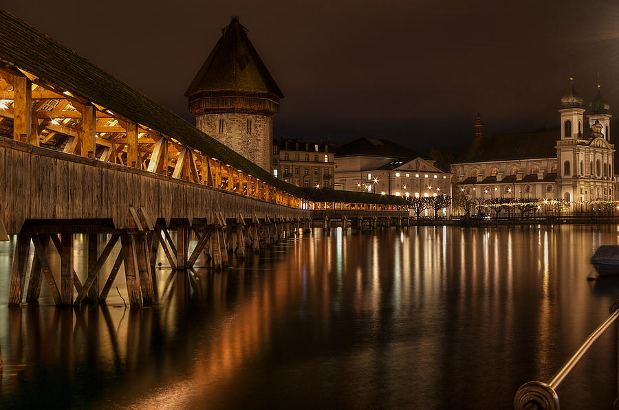 Chapel Bridge Photograph - Chapel Bridge Lucerne by Caroline Pirskanen