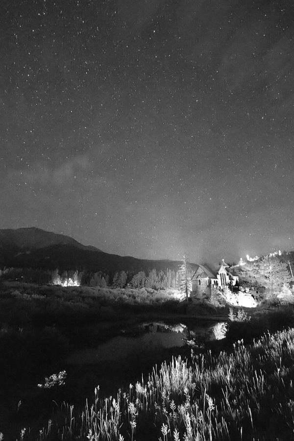 Chapel On The Rock Stary Night Portrait Bw Photograph
