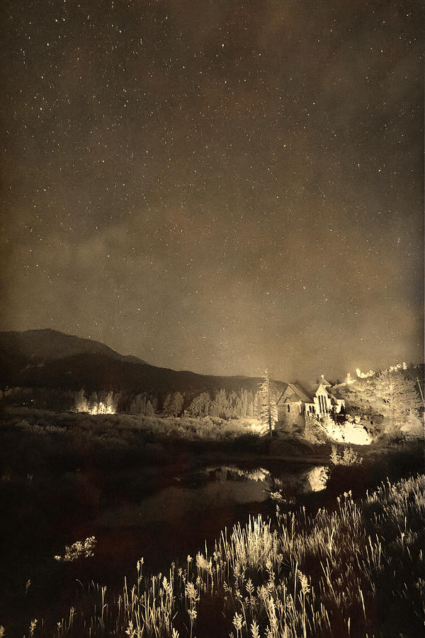 Chapel On The Rock Stary Night Portrait Monotone Photograph  - Chapel On The Rock Stary Night Portrait Monotone Fine Art Print