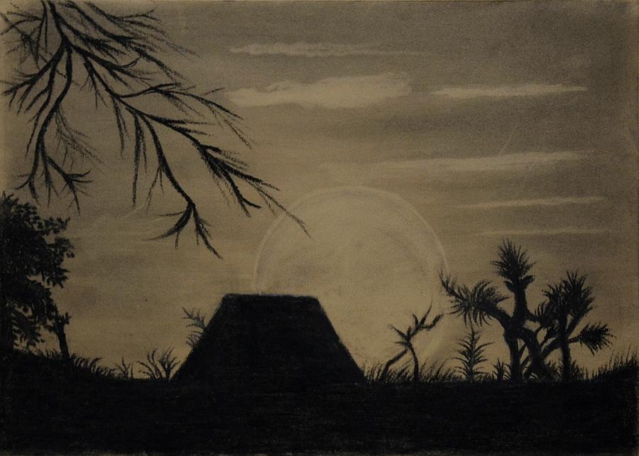 Charcoal Landscape Painting