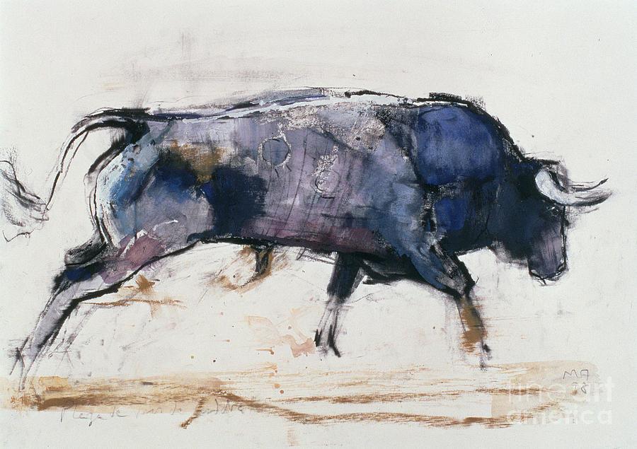 Bull Painting - Charging Bull by Mark Adlington