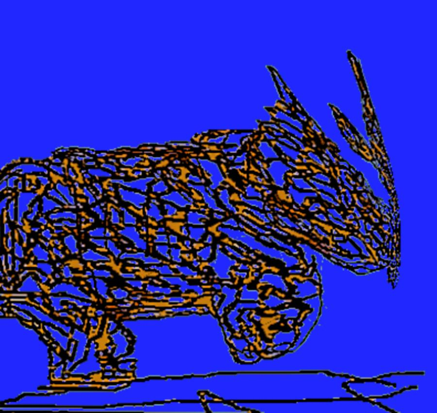 Charging Rhino Digital Art  - Charging Rhino Fine Art Print