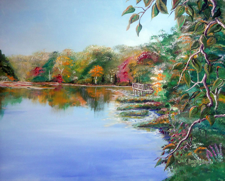 Charles River From The Newton Street Bridge Waltham Painting
