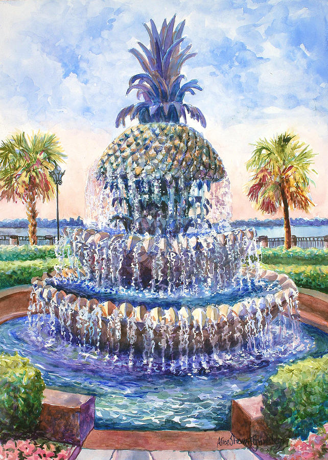 Charlestons Pineapple Fountain Painting  - Charlestons Pineapple Fountain Fine Art Print
