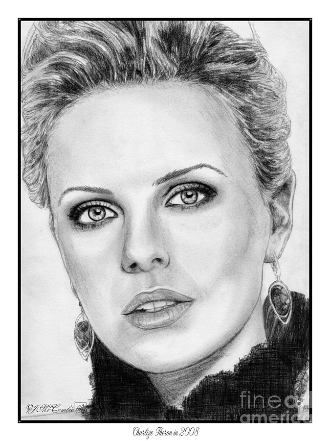 Charlize Theron In 2008 Drawing  - Charlize Theron In 2008 Fine Art Print