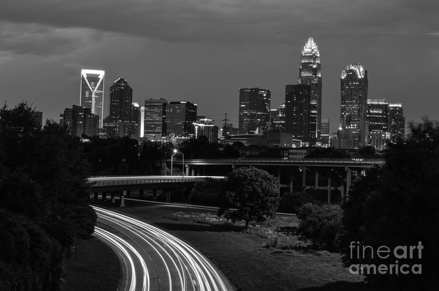 Charlotte Nc Black And White City Skyline Bridges Trees Sky Scrapers Light Trails Impressive Photo Dynamic  Photograph - Charlotte Black And White Skyline by Robert Loe