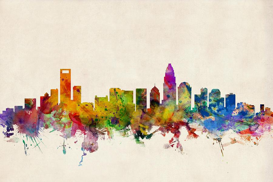 Charlotte North Carolina Skyline Digital Art