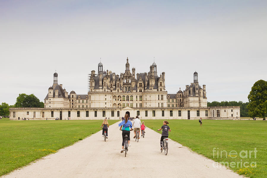 Centre Photograph - Chateau Chambord And Cyclists by Colin and Linda McKie