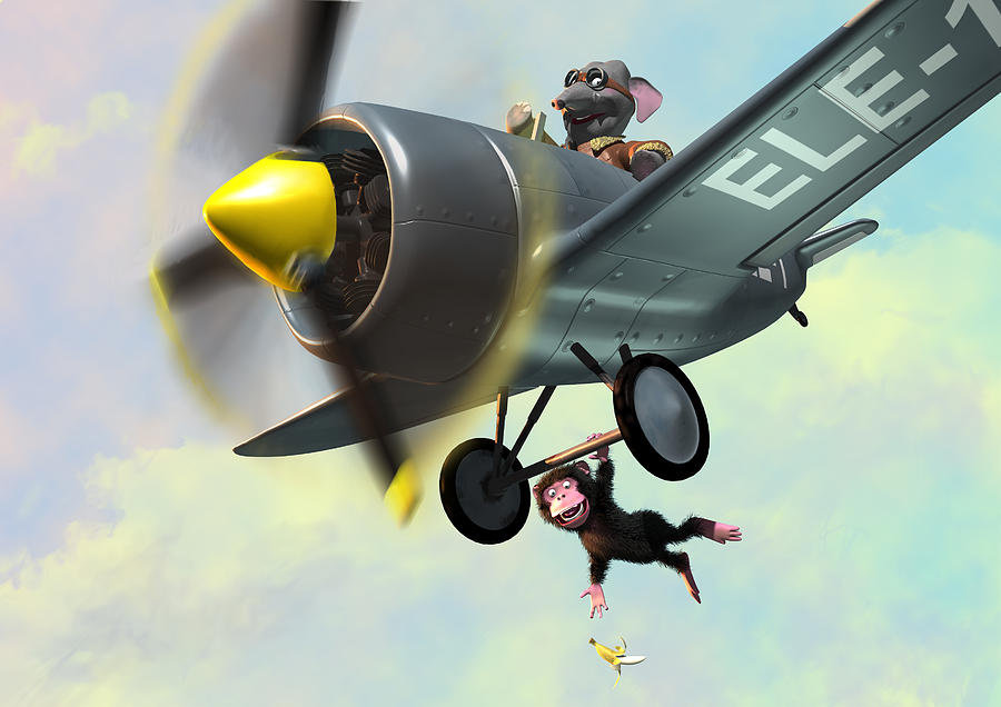 Plane Painting - Cheeky Monkey Hanging From Plane by Martin Davey