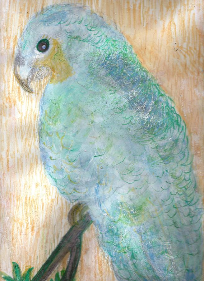 Cheerful Blue Parrot  Mixed Media