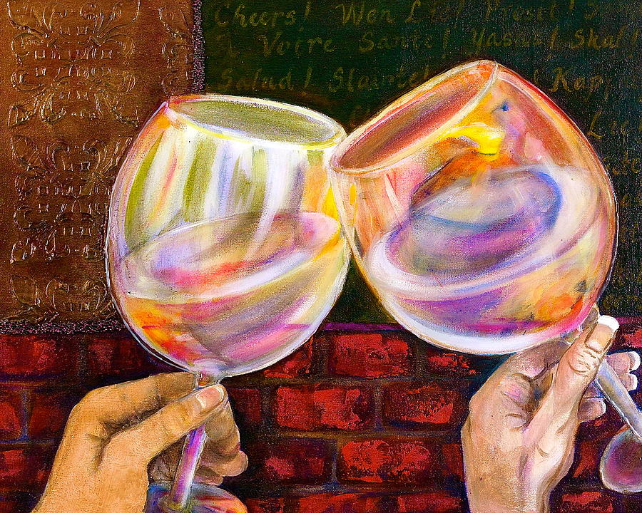 Wine Painting - Cheers by Debi Starr
