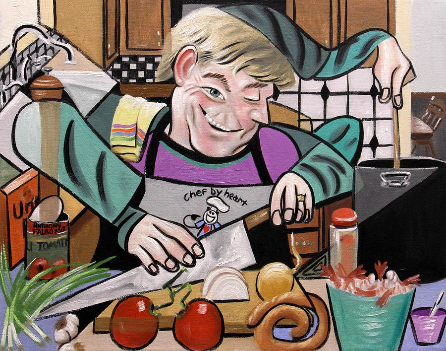 Chef With Heart Painting  - Chef With Heart Fine Art Print