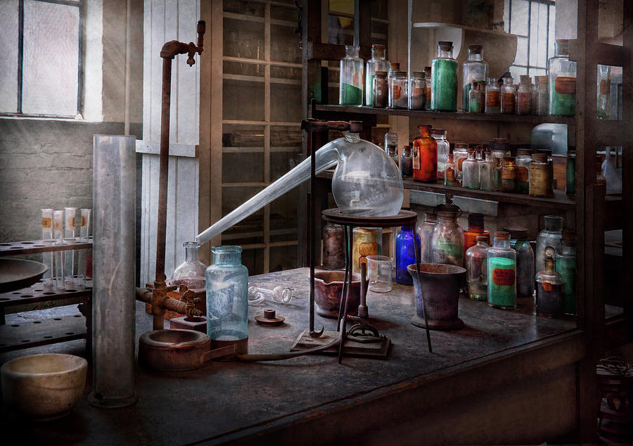 Hdr Photograph - Chemist - My Retort Is Better Than Yours  by Mike Savad