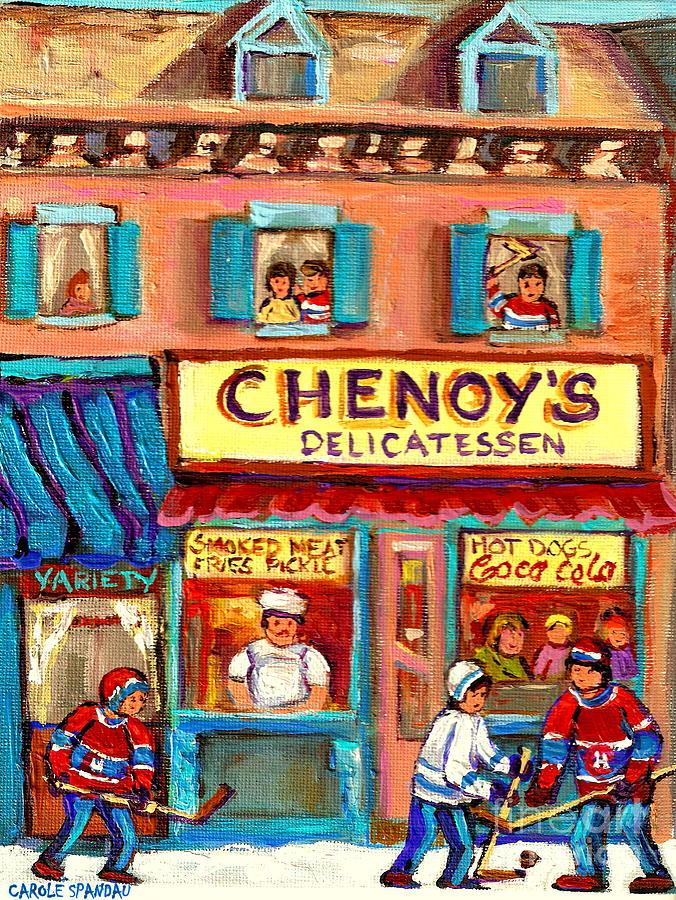 Paintings Of Chenoy's Deli Montreal Restaurants Painting - Chenoys Delicatessen Montreal Landmarks Painting  Carole Spandau Street Scene Specialist Artist by Carole Spandau
