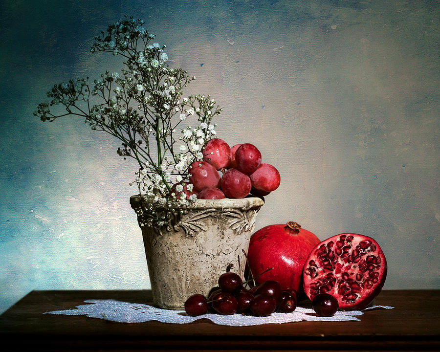 Cherries And Pommegranates Photograph