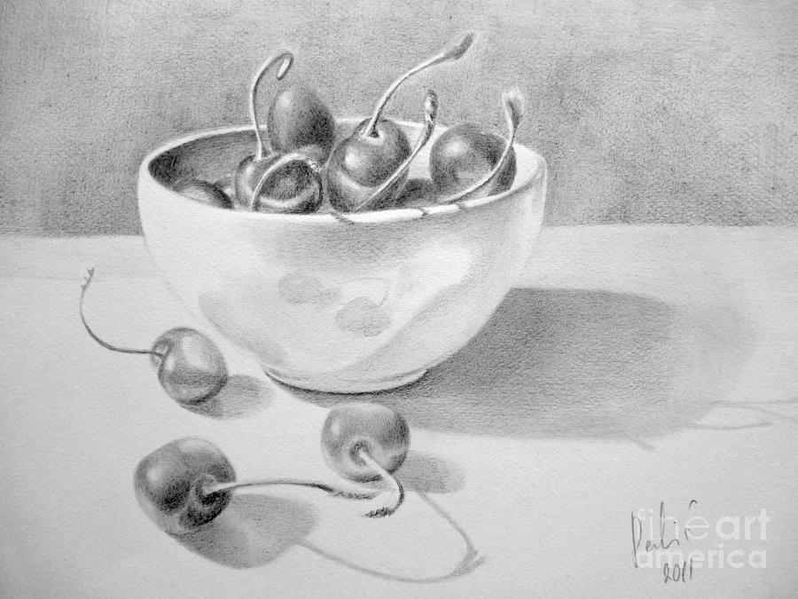 Cherries In White Bowl Painting  - Cherries In White Bowl Fine Art Print