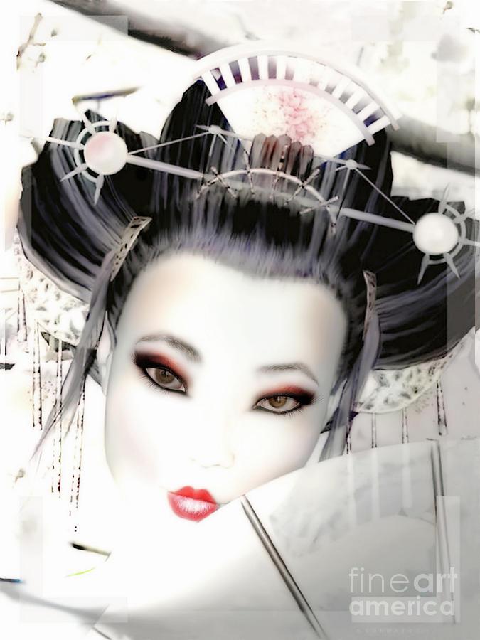 Cherry Blossom Geisha Digital Art