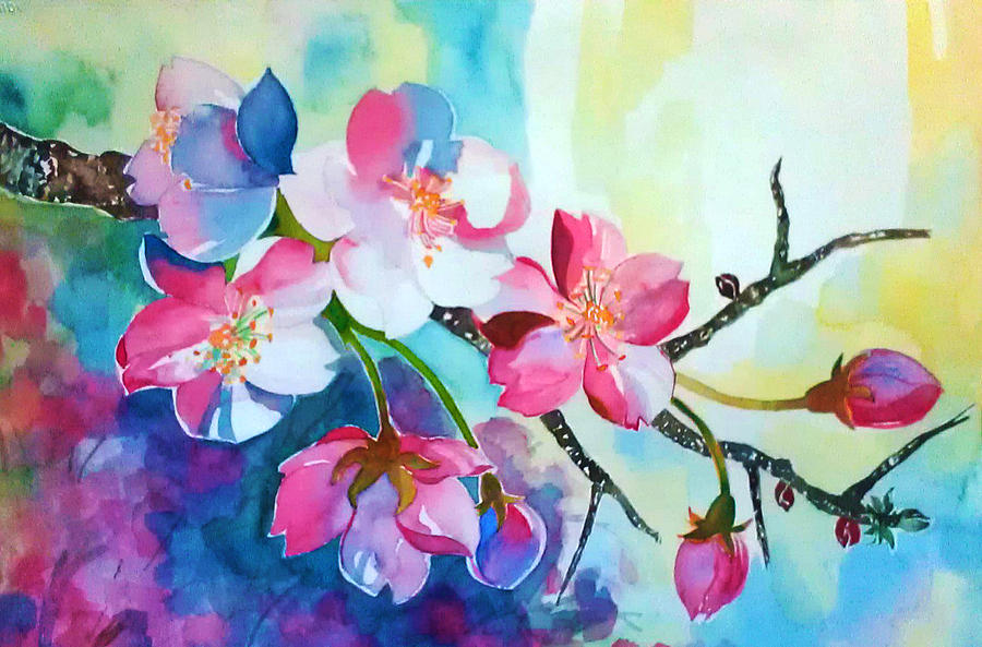 Colorful Cherry Blossom Tree Painting