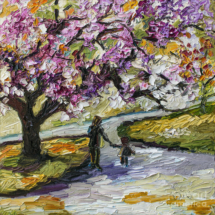 Cherry Blossom Tree Walk In The Park Painting  - Cherry Blossom Tree Walk In The Park Fine Art Print