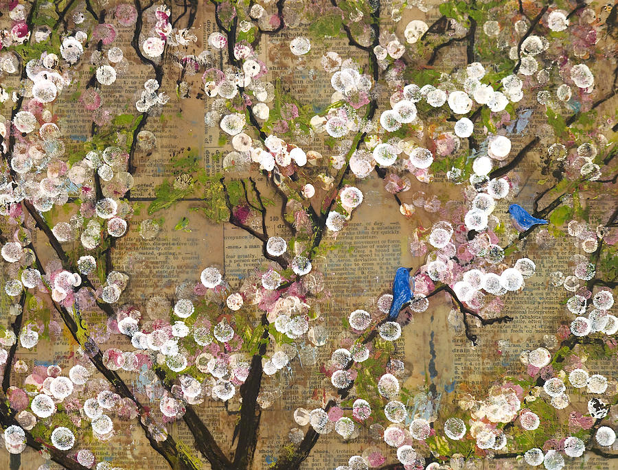 Mixed Media Painting - Cherry Blossoms And Blue Birds by Blenda Studio