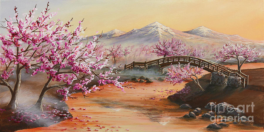 Cherry Blossoms In The Mist Painting