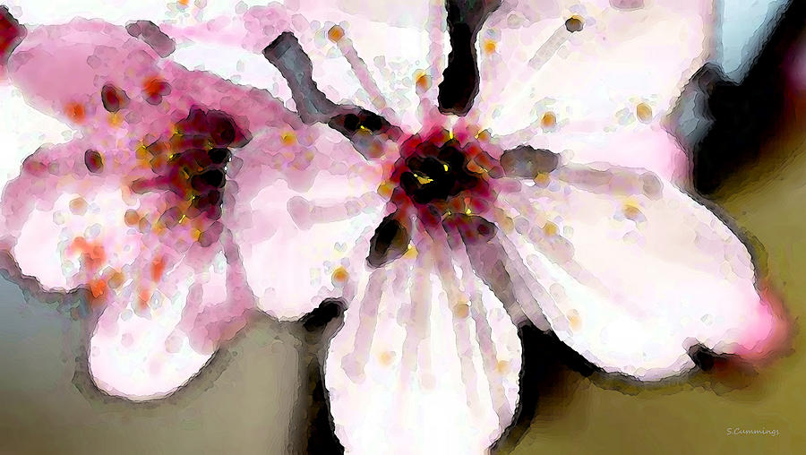 Cherry Blossoms - Soft Pink Floral Painting