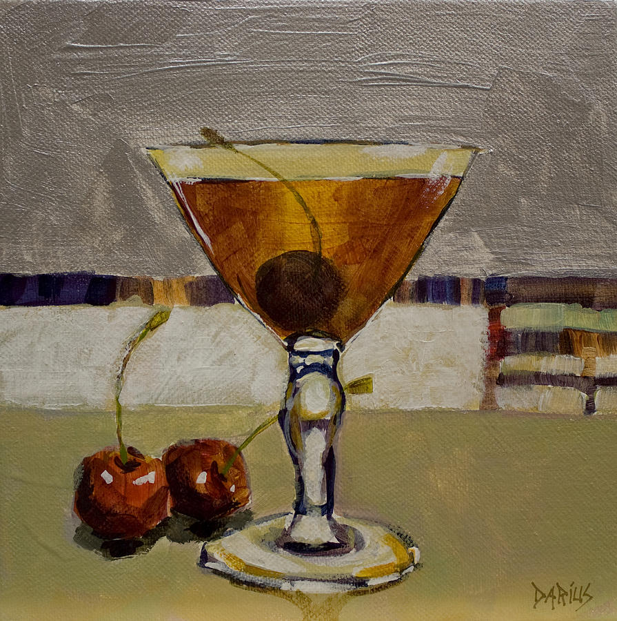 Cocktails Painting - Cherry Bomb by Sue  Darius