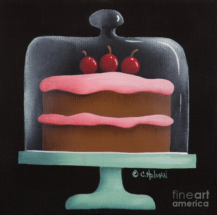 Cherry Chocolate Cake Painting  - Cherry Chocolate Cake Fine Art Print