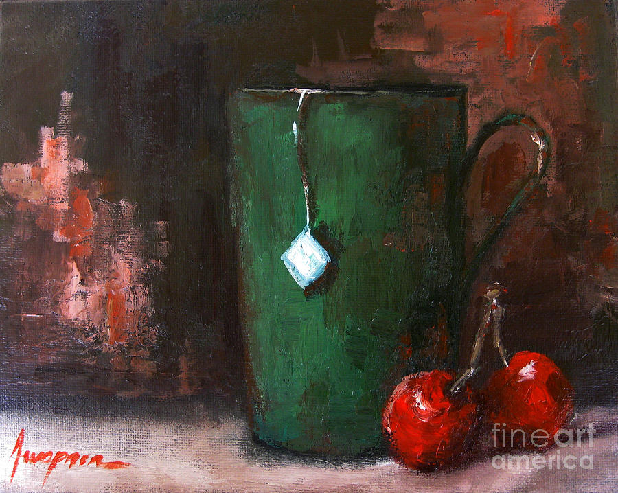 Cherry Tea In Green Mug Painting  - Cherry Tea In Green Mug Fine Art Print