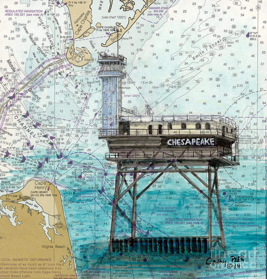Chesapeake Lighthouse Light Tower Va Nautical Chart Map