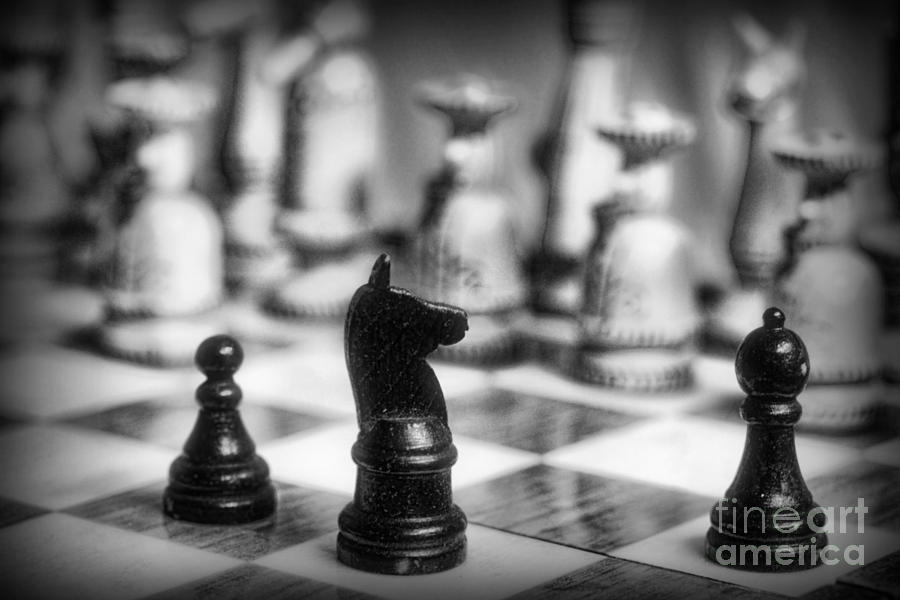 Chess Game In Black And White Photograph  - Chess Game In Black And White Fine Art Print