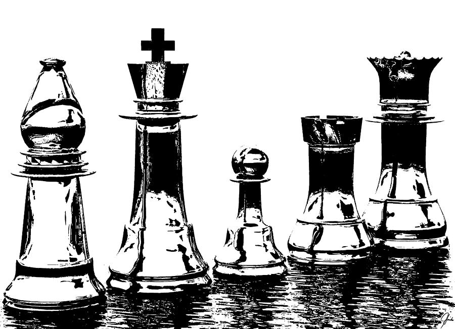 Chess Pieces Digital Art by Richard Hinds