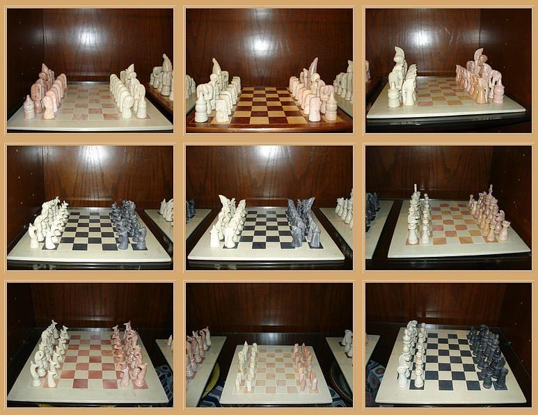 Kisii Stone Sculpture - Chess Set by Unknown