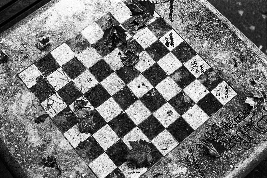 Chess Table In Rain Photograph by Dave Beckerman
