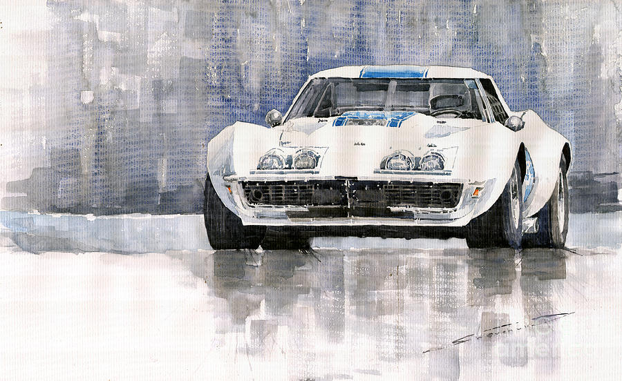 Watercolor Painting - Chevrolet Corvette C3 by Yuriy  Shevchuk