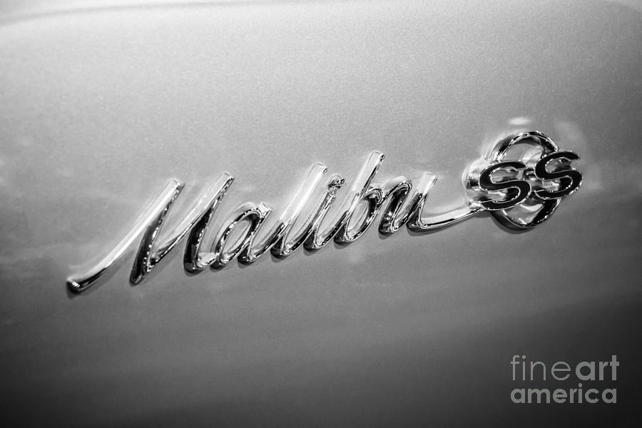 1960's Photograph - Chevrolet Malibu Ss Emblem Black And White Picture by Paul Velgos