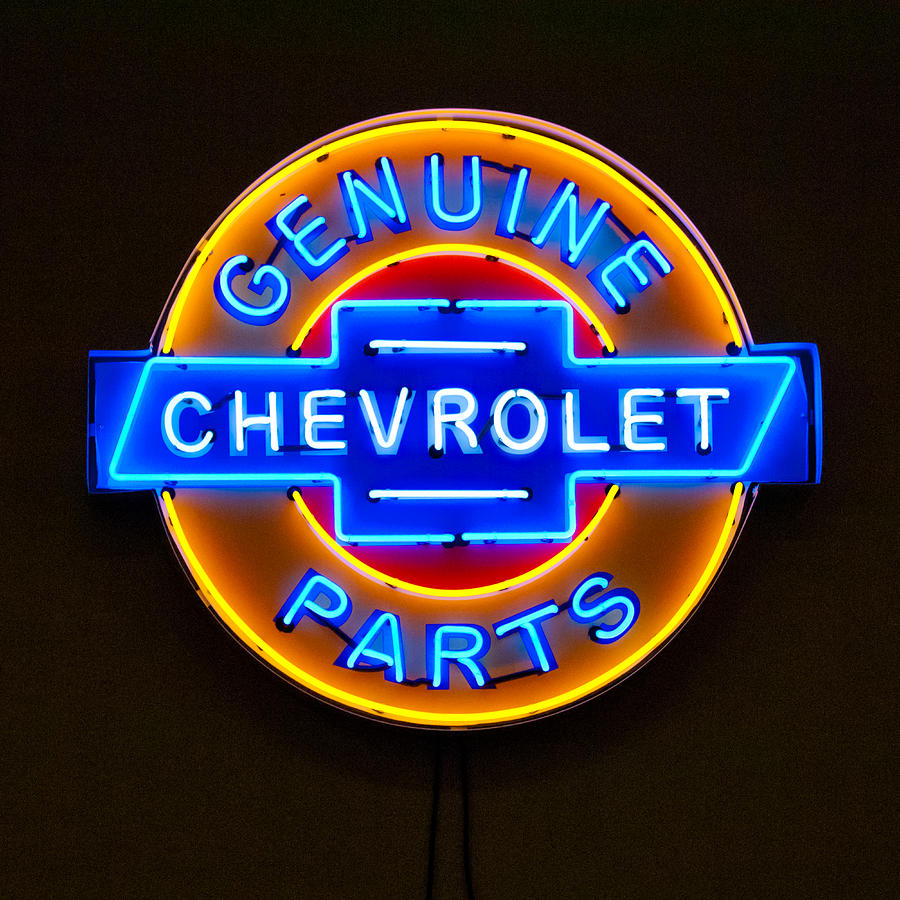 Chevrolet Neon Sign Photograph - Chevrolet Neon Sign by Jill Reger