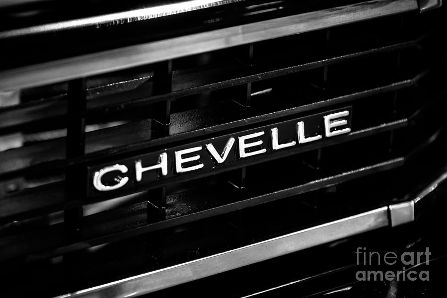 Chevy Chevelle Grill Emblem Black And White Picture Photograph